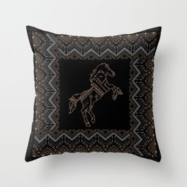 Ethnic pattern with a horse and american indian traditional ornament in brown and blue colors. Throw Pillow