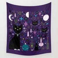 kittens Wall Tapestries featuring Halloween Kittens  by Carly Watts
