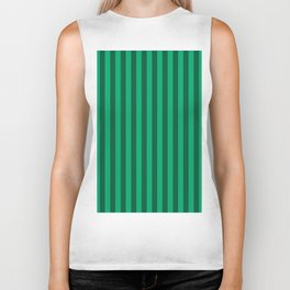 Jade Green Stripes Pattern Biker Tank