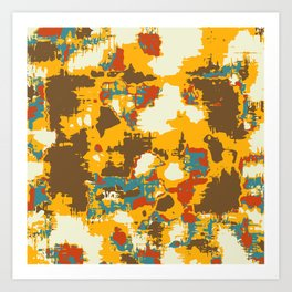 psychedelic geometric painting texture abstract in yellow brown red blue Art Print