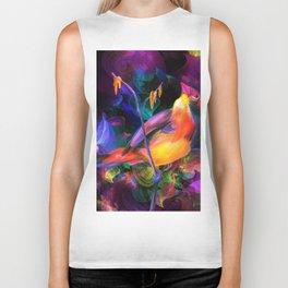 Abstract Watercolor Bird (Color) Biker Tank