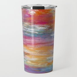 Abstract colorful texture background with paint strokes Travel Mug