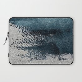 Navy Blue Silver Gray Abstract Painting Laptop Sleeve