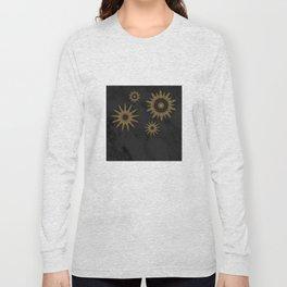 Gold Flower Mandalas over Black Marble Long Sleeve T-shirt