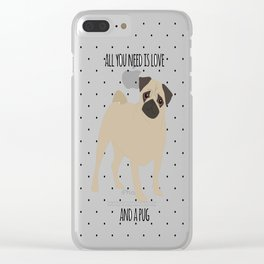 Love And Pugs Clear iPhone Case