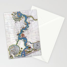 Piri Reis Map of the River Nile From its Estuary South Stationery Cards