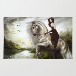 Morning welcome - Royal redead girl riding a white horse Rug