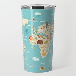 Animals world map for kid Travel Mug