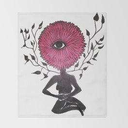 Divine Flower Woman Throw Blanket