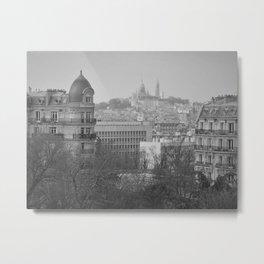 Sacré-Cœur, Montmartre, Paris, France panoramic cityscape black and white photograph / photography Metal Print