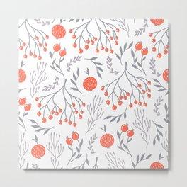 Red Berry Floral Metal Print