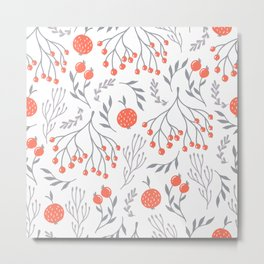 Red Berry Floral Metal Print