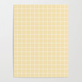 Banana Mania - pink color - White Lines Grid Pattern Poster