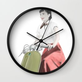 Audrey ride on Vespa Wall Clock