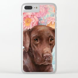 Flowers and Chocolate (chocolate lab dog watercolor portrait painting) Clear iPhone Case