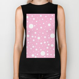 Mixed Polka Dots - White on Cotton Candy Pink Biker Tank