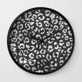 Black white hand paint leopard pattern chalkboard Wall Clock