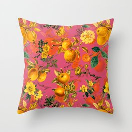 Vintage & Shabby Chic - Summer Golden Apples Pink Flowers Garden Throw Pillow