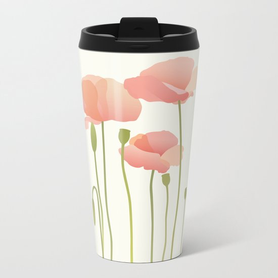 Blushing Poppies III Metal Travel Mug