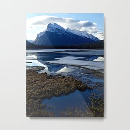 Rundle Mountain Reflections Metal Print