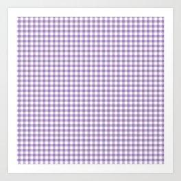Geometric modern violet white checker stripes pattern Art Print