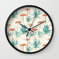 50s Wall Clocks featuring Flowering Succulent Pattern in Cream, Coral and Green by micklyn