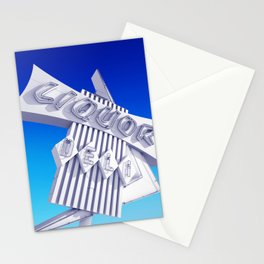 Liquor Deli Vintage Retro Neon Sign Blue Stationery Cards