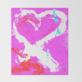 Pink Graffiti Ribbon for Breast Cancer Research by Jeffrey G. Rosenberg Throw Blanket