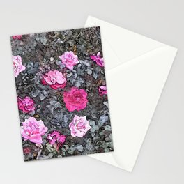 Rosebush Pink Rose Flowers Floral Painting Stationery Cards