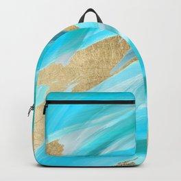 Artistic teal turquoise white gold brushstrokes Backpack