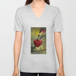 Red Delicate Globe Mallow Flower Unisex V-Neck