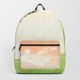 Water painting of peaceful glass field with glowing sunset Backpack