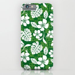 Green and White Aloha Hawaiian Flower Blooms and Tropical Leaves Pattern iPhone Case
