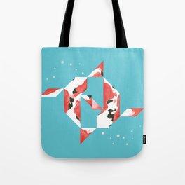 Tangram Koi Turqoise Tote Bag