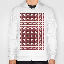 Wine Red Square Chain Pattern Design Hoody