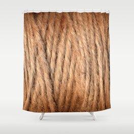 Brown Yarn Threads Shower Curtain
