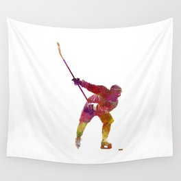 Hockey man player 02 in watercolor Wall Tapestry