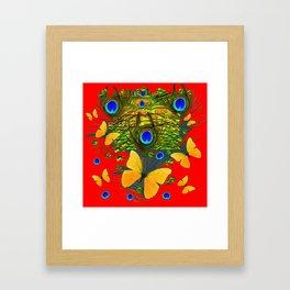 GREEN PEACOCK FEATHERS YELLOW BUTTERFLIES ON  RED ART Framed Art Print