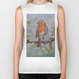 Red Robin Small bird on a blooming twig Wildlife spring scene Pastel drawing Biker Tank