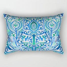 Sapphire and Emerald Watercolor Tulip Damask Rectangular Pillow