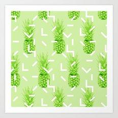 Summer Pineapples Art Print