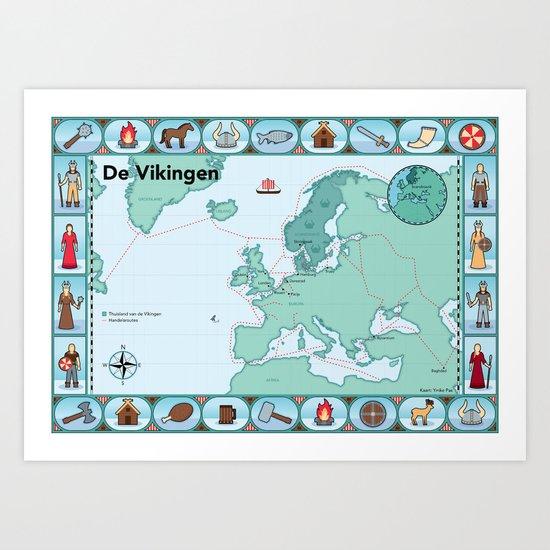 Geïllustreerde kaart van de Vikingen Art Print