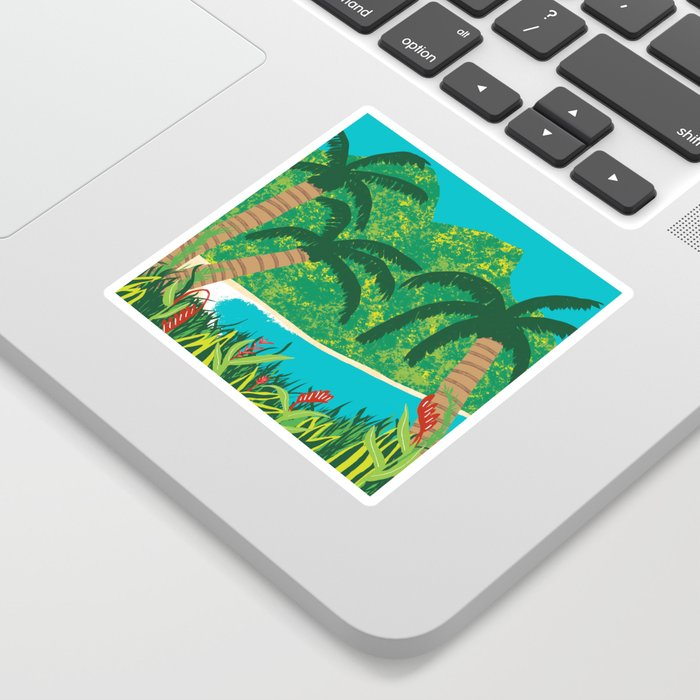 Tropical Island Getaway Sticker