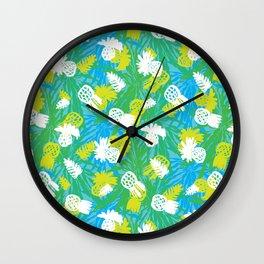 Tropical green pinapples Wall Clock