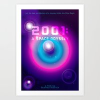 2001 a space odyssey Art Prints featuring 2001 a Space Odyssey by Scar Design