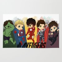 1d Area & Throw Rugs featuring 1D Avengers by RockitRocket