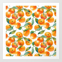 Mandarins With Leaves Art Print