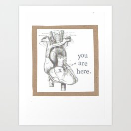 You Are Here Anatomy Heart Art Print