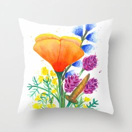 California Wildflowers 4 Throw Pillow
