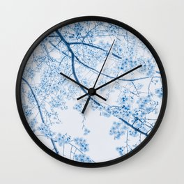 blue cherry blossom Wall Clock